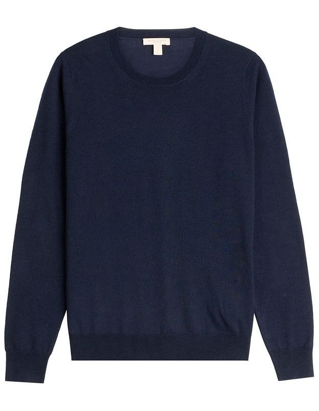 Pull bleu marine en laine Burberry Brit