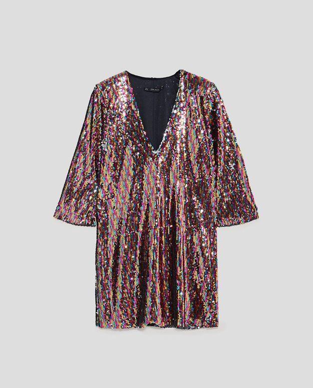Robe à paillettes multicolores Zara