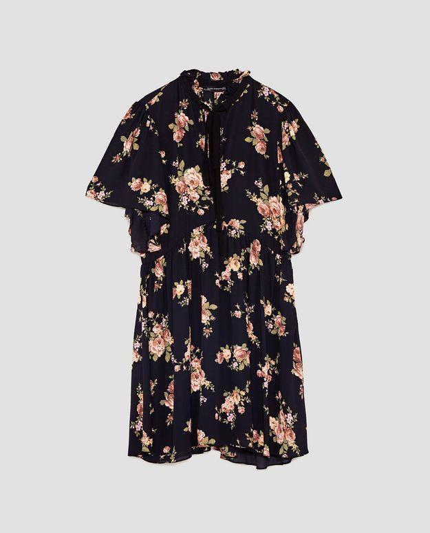 Robe noire à fleurs Zara