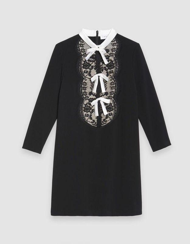 Robe noire à nœud Sandro