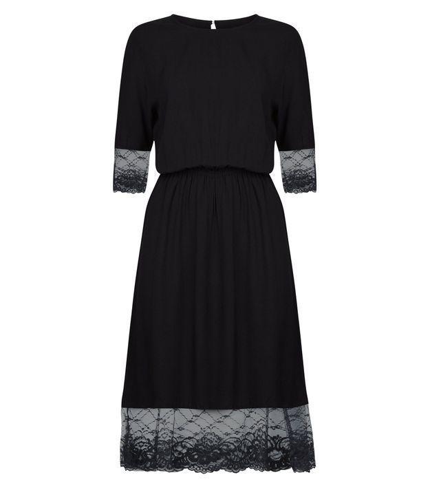 Robe noire en dentelle New Look