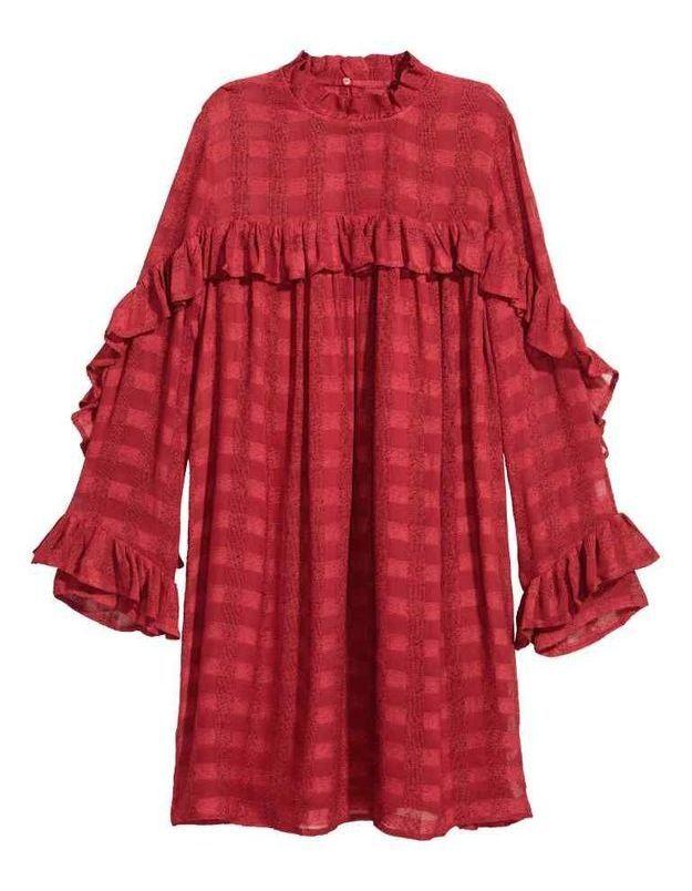 Robe rouge à carreaux H&M