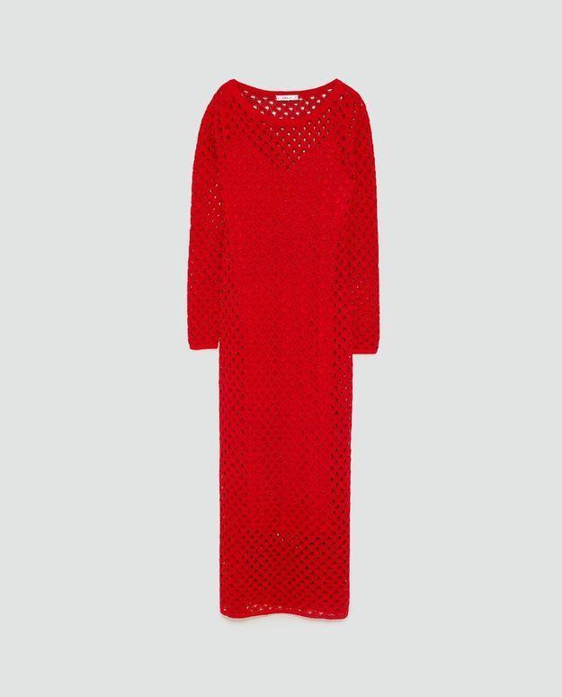 Robe rouge ajourée Zara