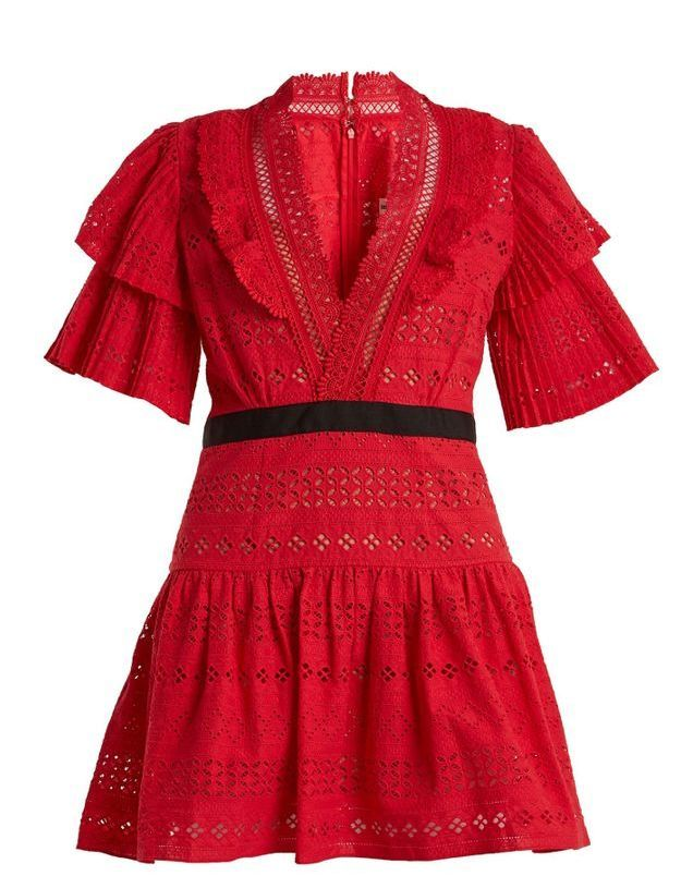 Robe rouge en broderie anglaise Self Portrait