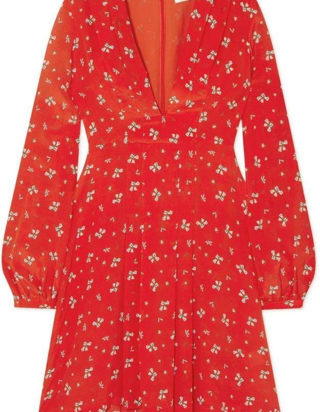 Robe rouge fleurie Rixo London