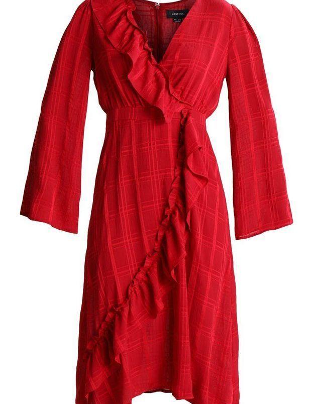 Robe rouge portefeuille asymétrique Lost Ink