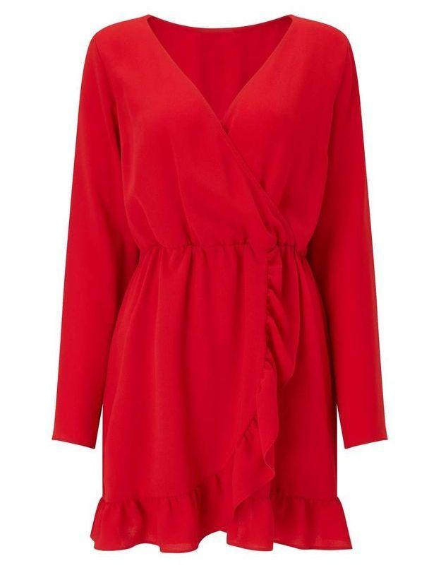 Robe rouge volantée Miss Selfridge