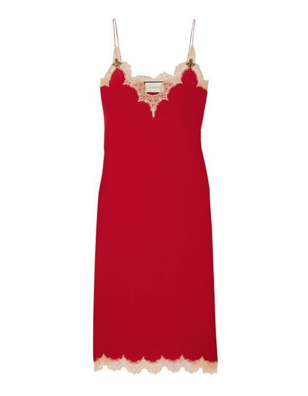 Slip dress en dentelle Gucci