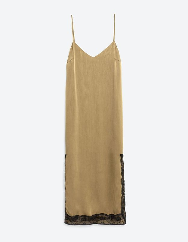 Slip dress kaki Zara