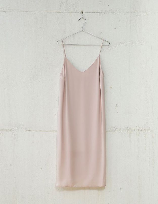 Slip dress mi-longue Bershka