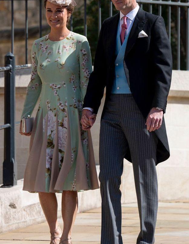 Pippa Middleton en robe vert d'eau à fleurs