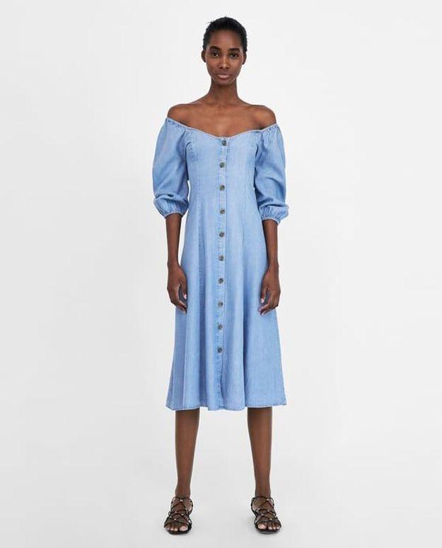 Robe à épaules dénudées Zara