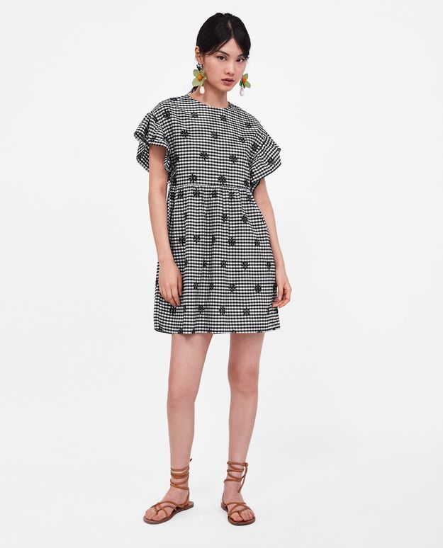 Robe à carreaux vichy Zara