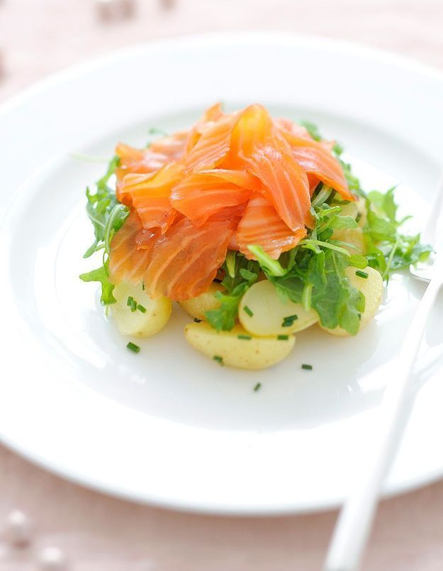 Gravlax, pommes de terre et riquette d'Alain Ducasse