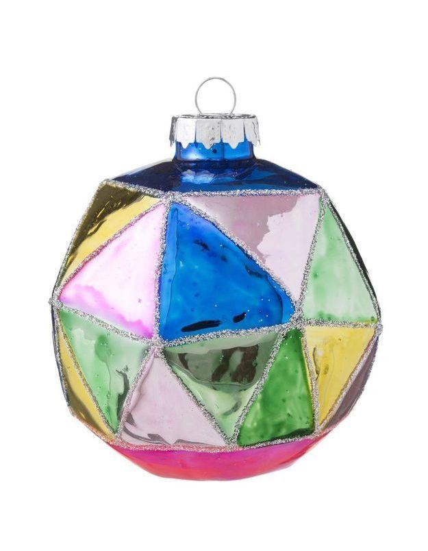 Boule de Noël en verre multicolore