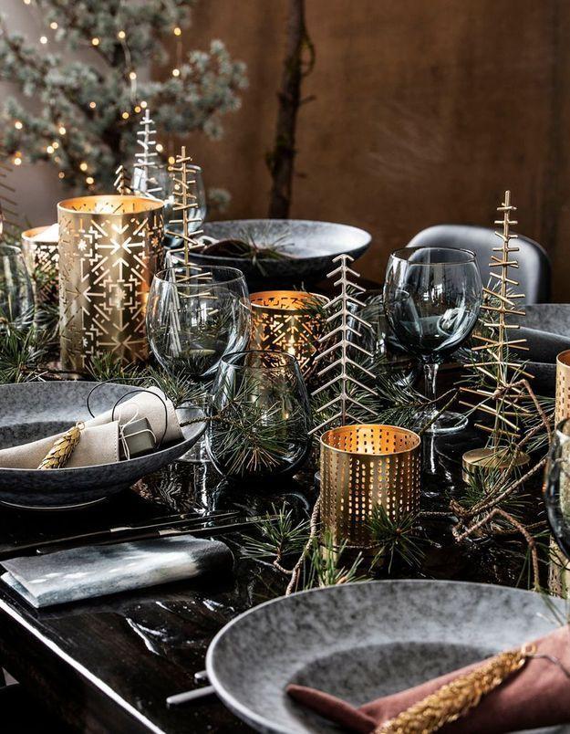 nos plus belles inspirations pour r ussir sa d co de table de no l elle. Black Bedroom Furniture Sets. Home Design Ideas