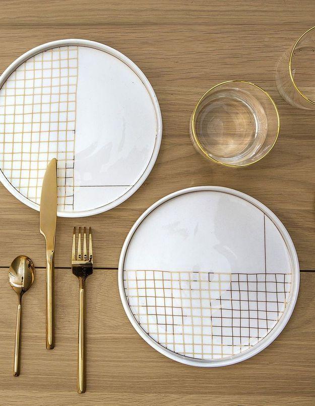 Vaisselle de Noël à carreaux La Redoute Intérieurs