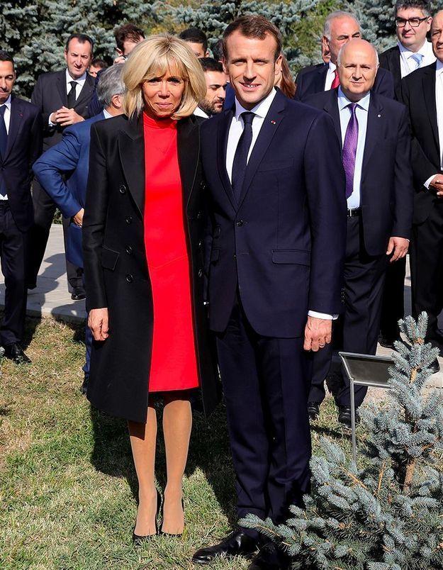 Brigitte et Emmanuel Macron au mémorial du génocide arménien