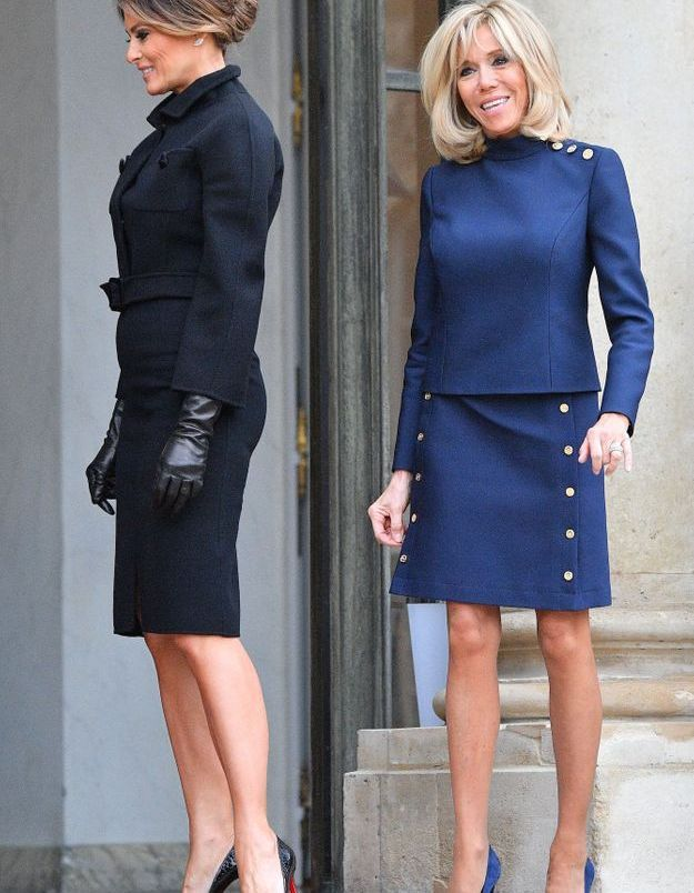 Melania Trump et Brigitte Macron devant l'Elysée