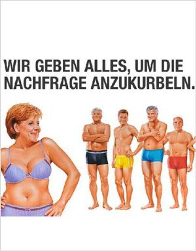 Buzz : Angela Merkel en sous-vêtements pour une pub