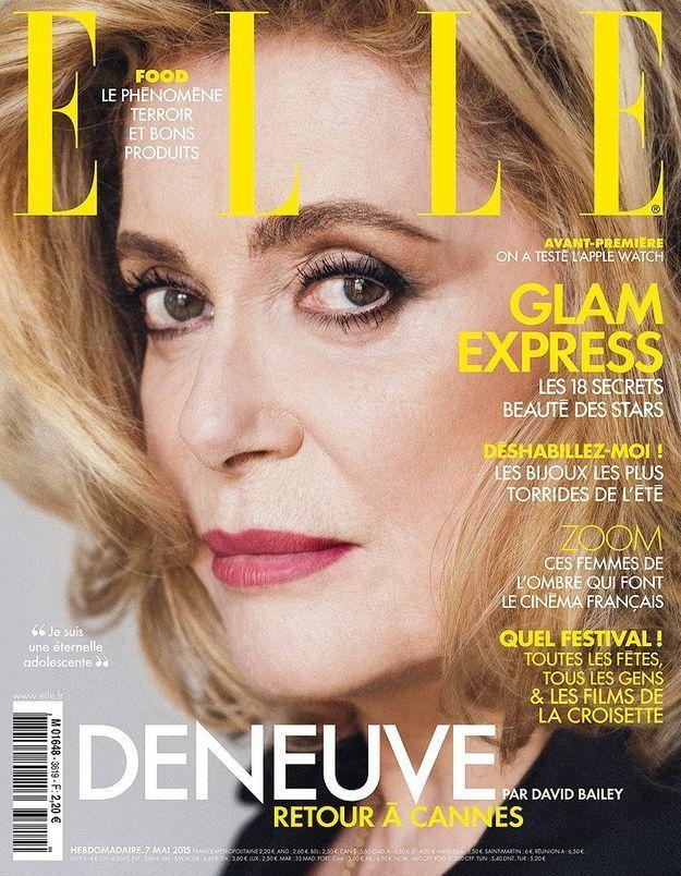 Catherine Deneuve face à l'objectif de David Bailey pour ELLE