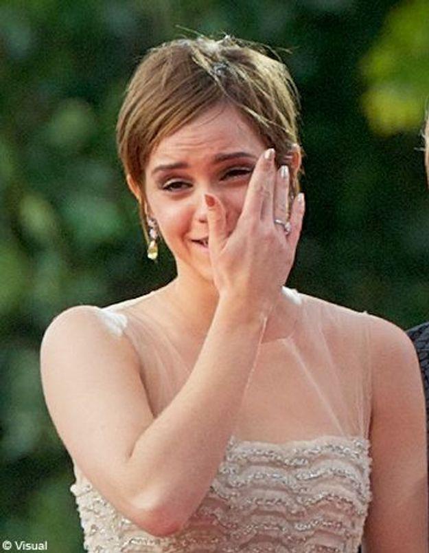 Emma Watson en larmes à l'avant première Harry Potter