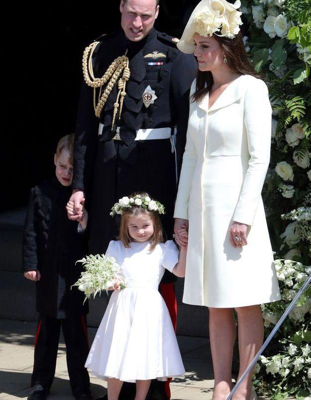 Le prince William, Kate Middleton et leur fille Charlotte au mariage du prince Harry et de Meghan Markle