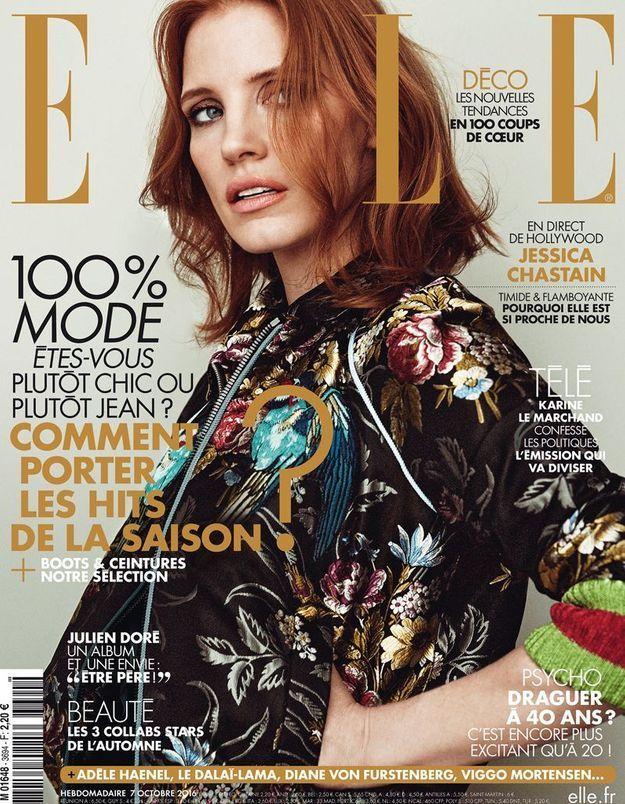 Jessica Chastain en couverture de ELLE cette semaine!