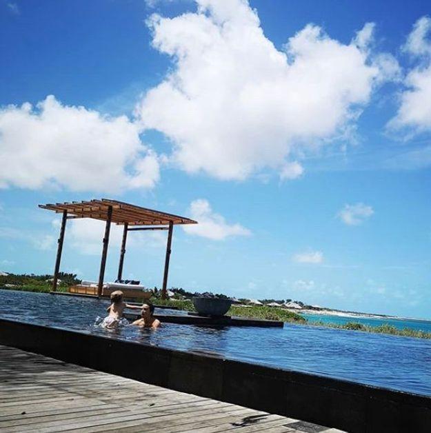 Antoine Griezmann aux Bahamas avec sa femme Erika et sa fille Mia