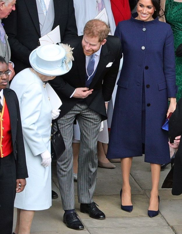 Le couple Meghan et Harry en compagnie de la reine Elisabeth