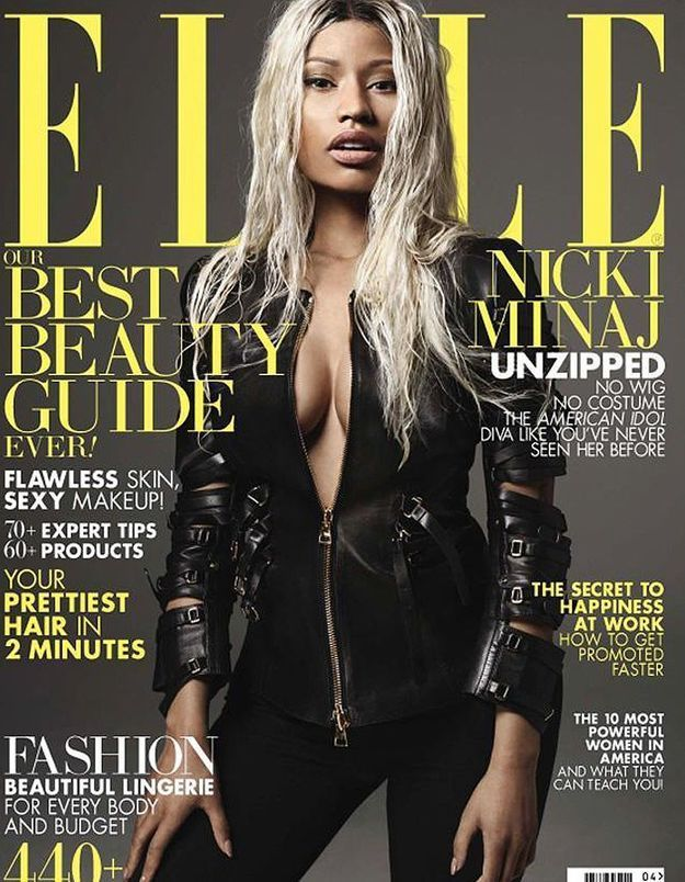 Nicki Minaj, sans maquillage en couverture du « Elle » américain
