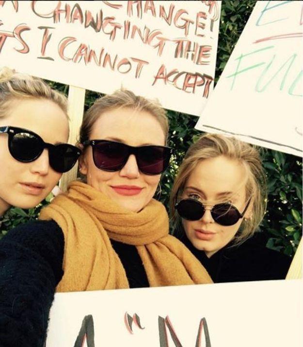 Jennifer Lawrence, Cameron Diaz et Adele sont descendues ensemble dans les rues de Los Angeles