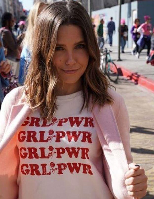 Sophia Bush et son t-shirt Girl Power à Los Angeles