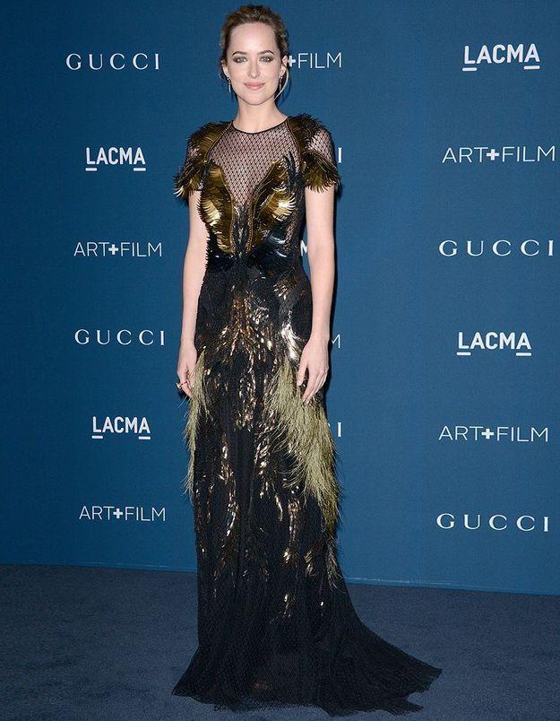 Le look du jour : Dakota Johnson, la star de « Fifty Shades of Grey » en Gucci