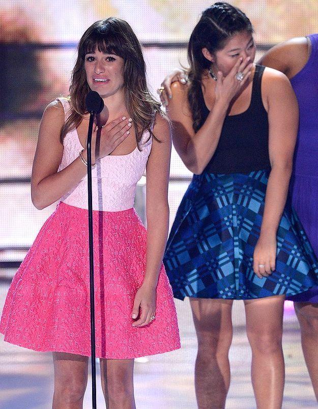 Le look du jour : Lea Michele, en larmes aux Teen Choice Awards 2013