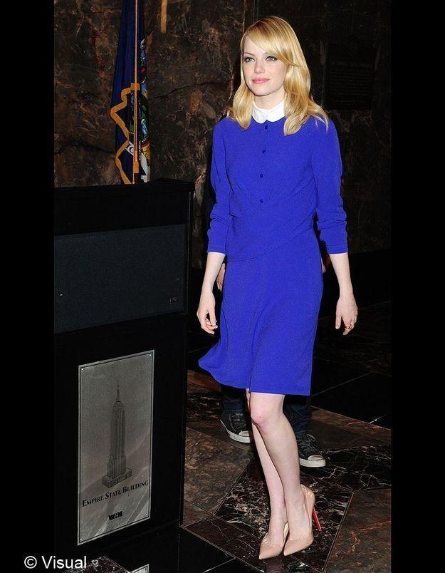 Allure d'écolière sage et moderne en Carven et stilettos Christian Louboutin lorsqu'Emma Stone promeut le film à New York.