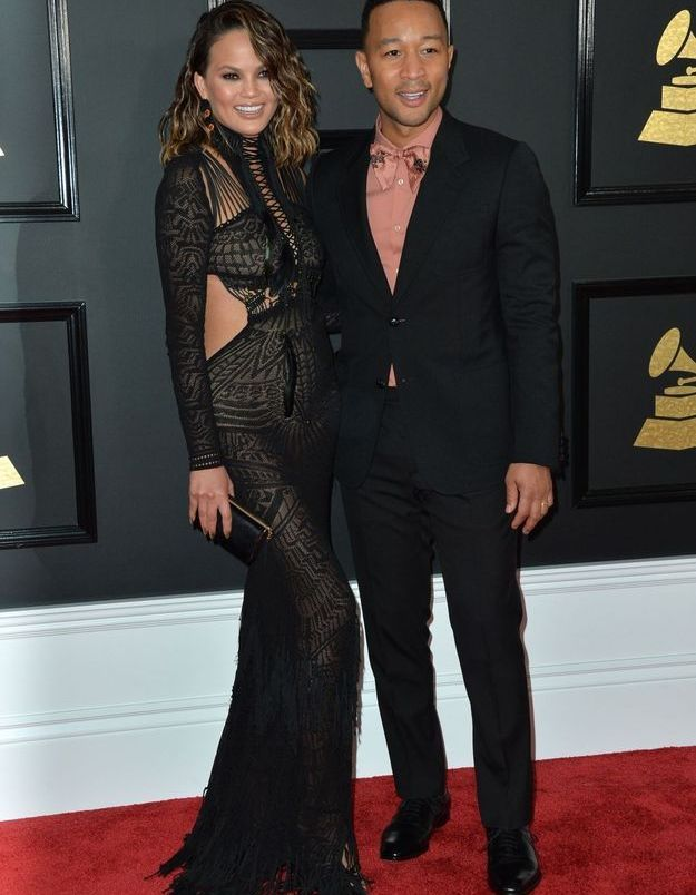 Chrissy Teigen en Roberto Cavalli et John Legend