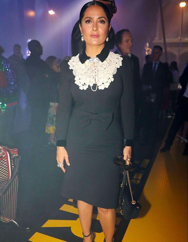 Salma Hayek au défilé Gucci