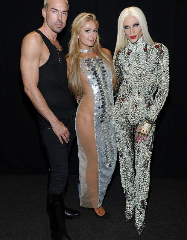 David Blond, Paris Hilton et Phillipe Blond au défilé The Blonds