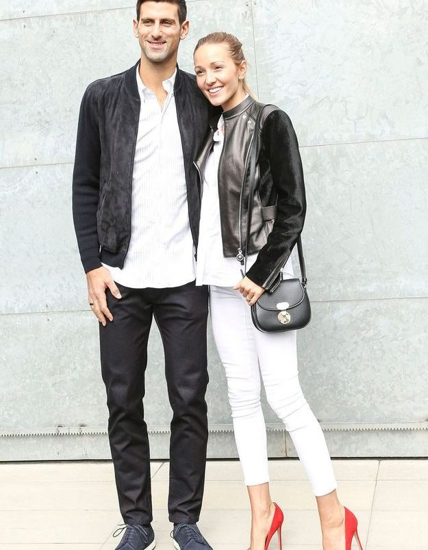 Novak et Jelena Djokovic au défilé Armani