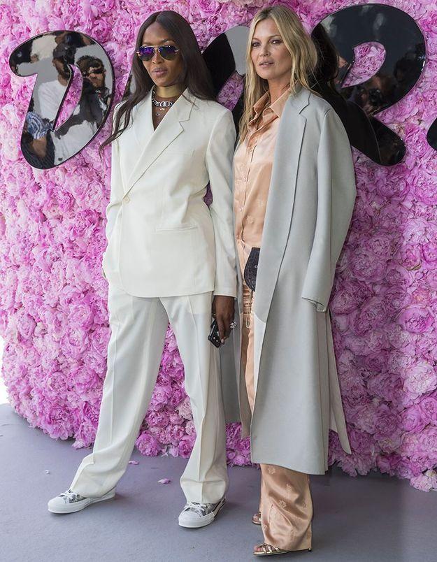 Naomi Campbell et Kate Moss au défilé Dior Homme
