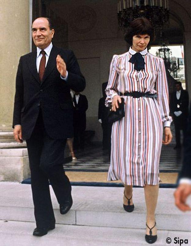 Danielle Mitterrand lors de l'investiture de François Mitterrand