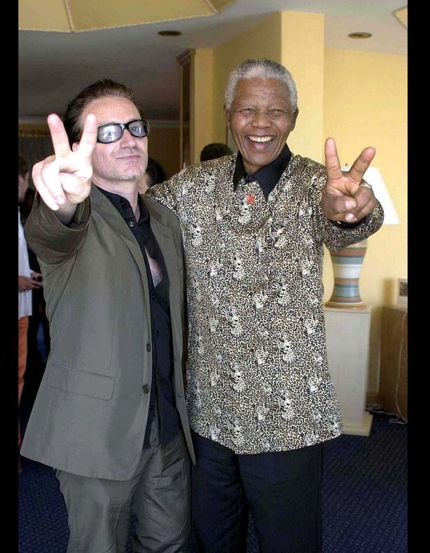 Bono de U2 et Nelson Mandela