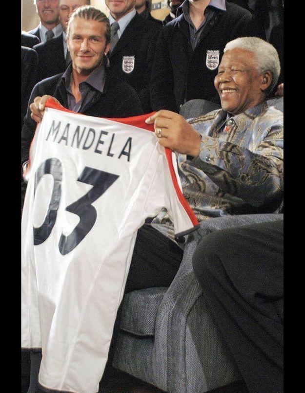 David Beckham et Nelson Mandela le 3 juin 2008