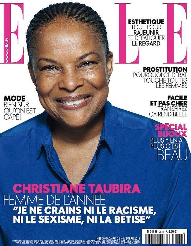 Christiane Taubira en couverture de ELLE