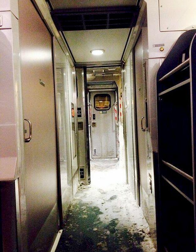 Un train gelé de l'intérieur