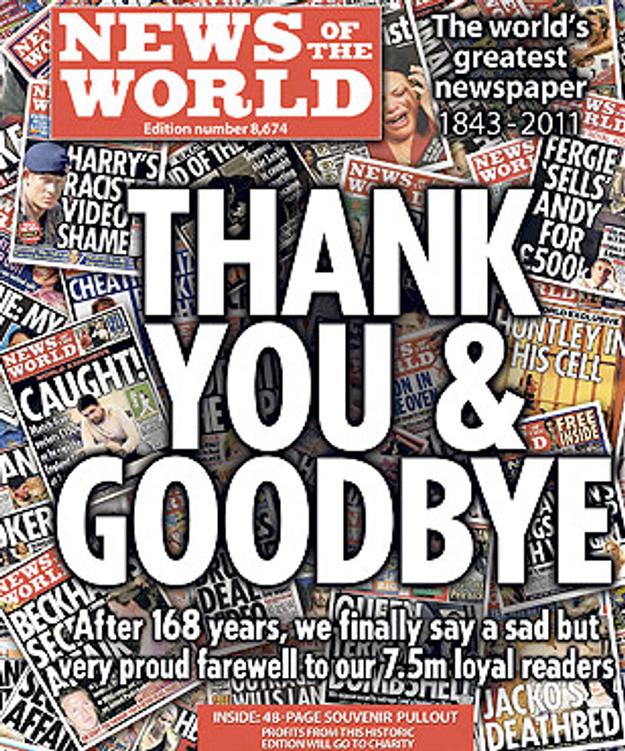 L'outrageux News of The World dit « Merci et adieu »