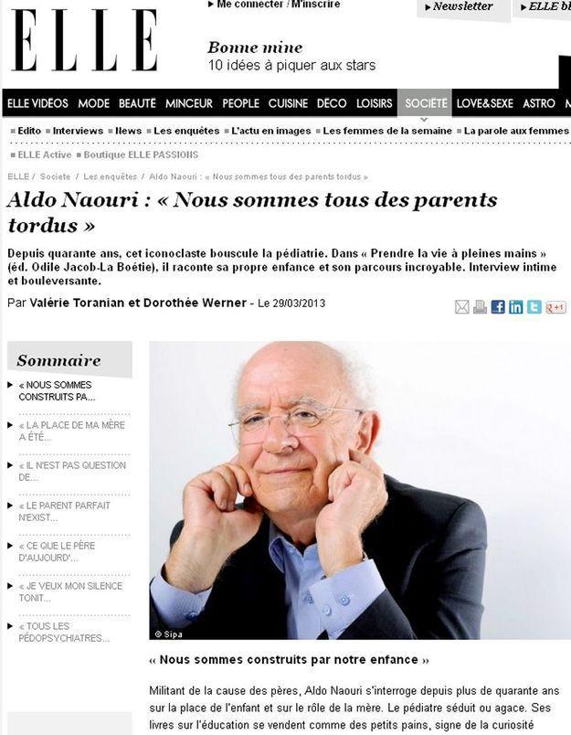 Polémique : à propos de l'interview d'Aldo Naouri dans « Elle »