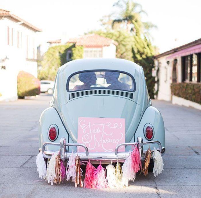 Exceptionnel Décoration voiture mariage original - 10 jolies façons de décorer  ZZ18