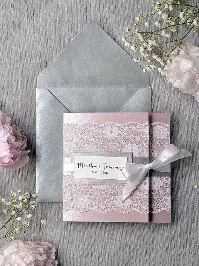 Top Faire-part mariage rose et gris - 20 faire-part de mariage à  NG71
